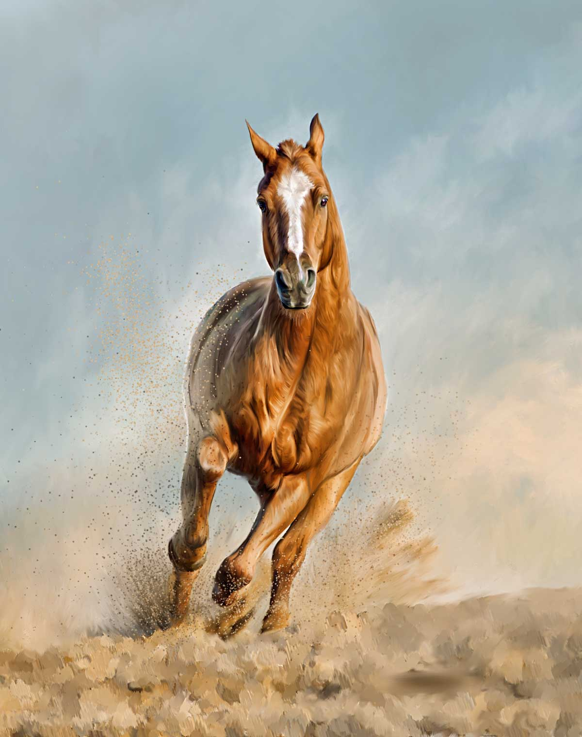 painting chestnut horse running