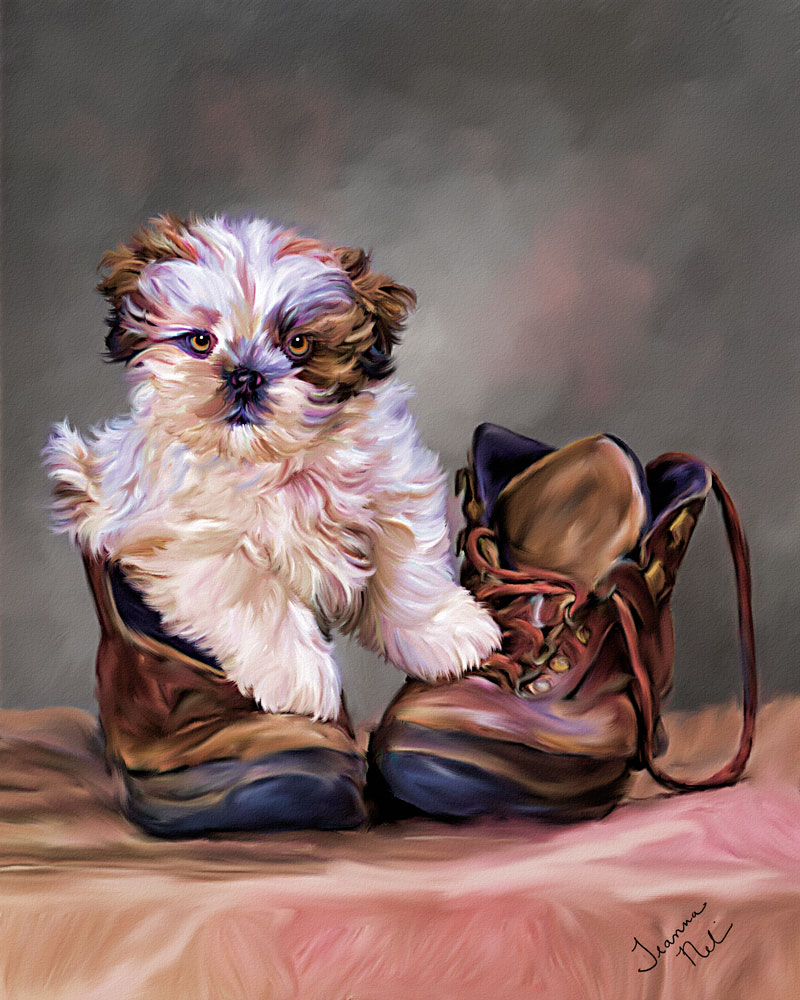 dog in boot painting